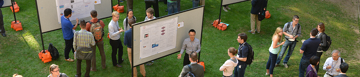 Students showcasing research posters at the 2015 GCEP Symposium